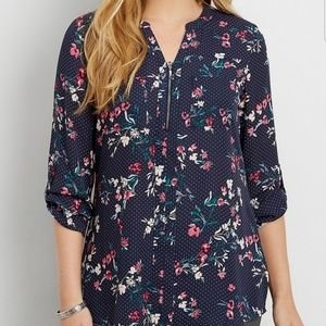 Maurices Floral Polka Dot Zip Blouse